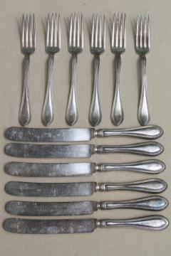 vintage silver forks & knives with letter D script monogram, heavy antique hotel silver plate