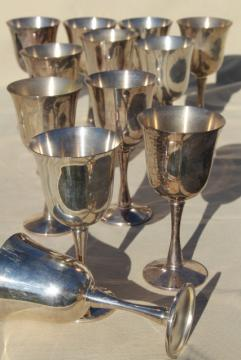 vintage silver goblets set of 12, Salem Portugal silverplate wine glasses