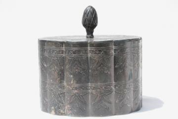 vintage silver jewelry box, antique casket tea caddy shape box lined in velvet