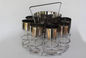 vintage silver ombre color fade drinking glasses, ice bucket cocktail set in caddy