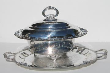 vintage silver over copper buffet service chafing dish & round serving tray w/ handles