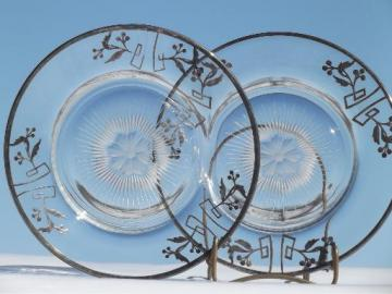 vintage silver overlay glass, art deco silver deposit glass plates