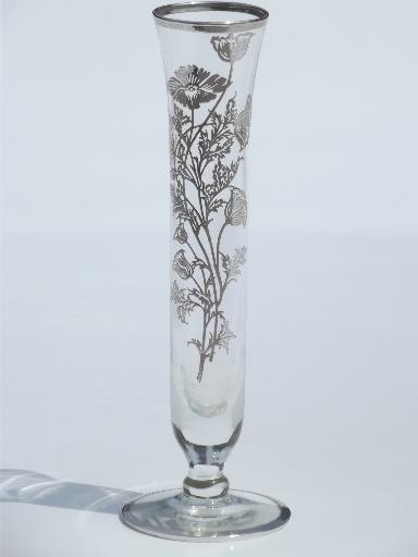 Vintage Silver Overlay Glass Bud Vase Flanders Poppy Silver Deposit