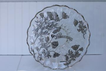 vintage silver overlay glass cake plate, large round tray poppies 25th anniversary