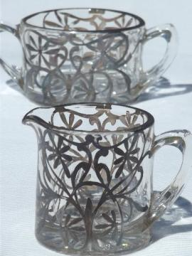 vintage silver overlay glass creamer & sugar set, cream pitcher & bowl