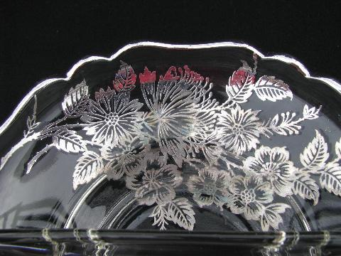 vintage silver overlay glass, floral pattern large round plate & divided bowl