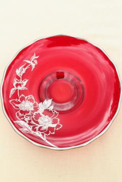 vintage silver overlay or silver deposit glass bowl, ruby red candy dish