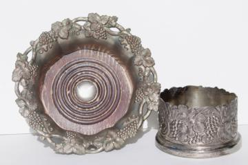 vintage silver pewter wine bottle coasters w/ embossed grapes, for large & small wine bottles