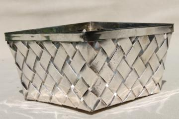 vintage silver plate berry basket, pint size berry box container