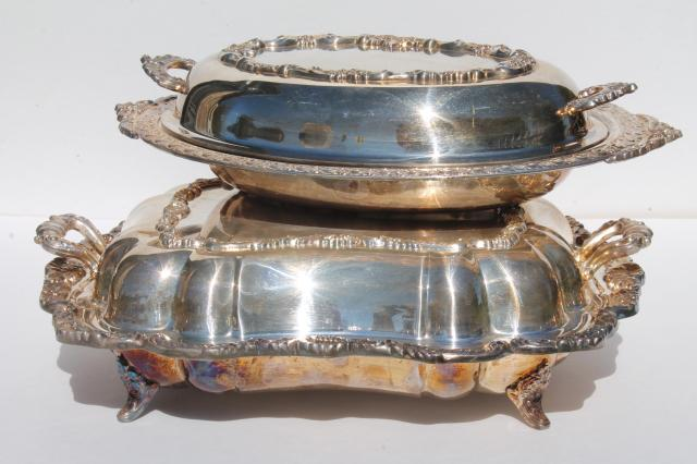 vintage silver plate buffet dishes covered chafing dish casserole serving bowls w/ covers & vintage silver plate buffet dishes covered chafing dish casserole ...