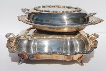vintage silver plate buffet dishes, covered chafing dish casserole serving bowls w/ covers