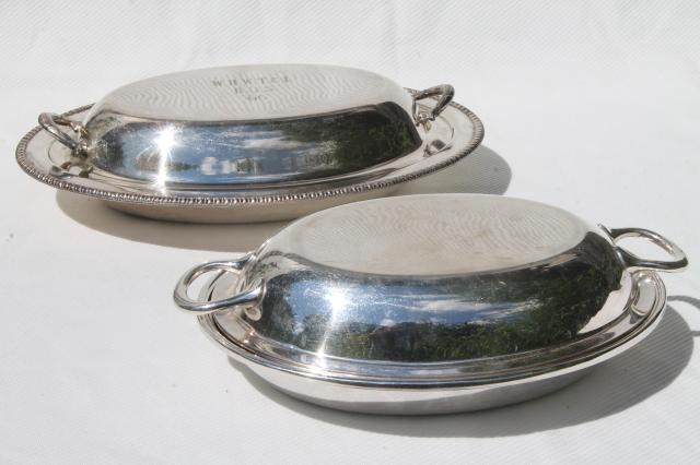 Vintage Silver Plate Buffet Dishes Oval Covered Bowls