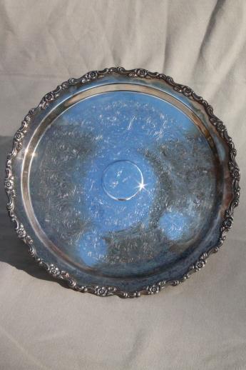 vintage silver plate cake stand or pedestal serving tray tarnished silverplate & vintage silver plate cake stand or pedestal serving tray tarnished ...