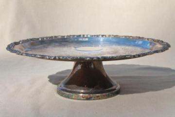 vintage silver plate cake stand or pedestal serving tray, tarnished silverplate