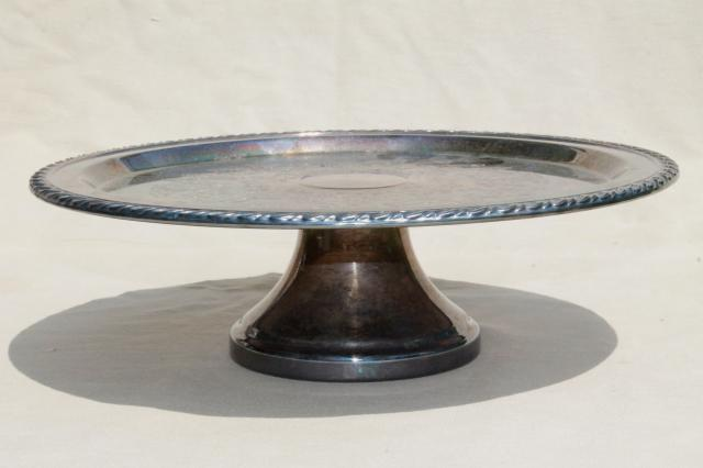 vintage silver plate cake stand or pedestal serving tray tarnished silverplate & vintage silver plate cake stand or pedestal serving tray tarnished ...