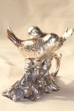 vintage silver plate figural birds on a branch cast metal salt and pepper shakers set