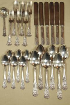 vintage silver plate flatware, Wildflower clover pattern Holmes & Tuttle H & T Mfg mark