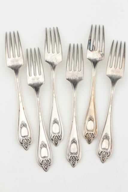 vintage silver plate flatware, antique Old Colony forks w/ ornate engraved monogram letter T