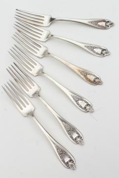 vintage silver plate flatware, antique Old Colony forks w/ ornate engraved monogram letter T