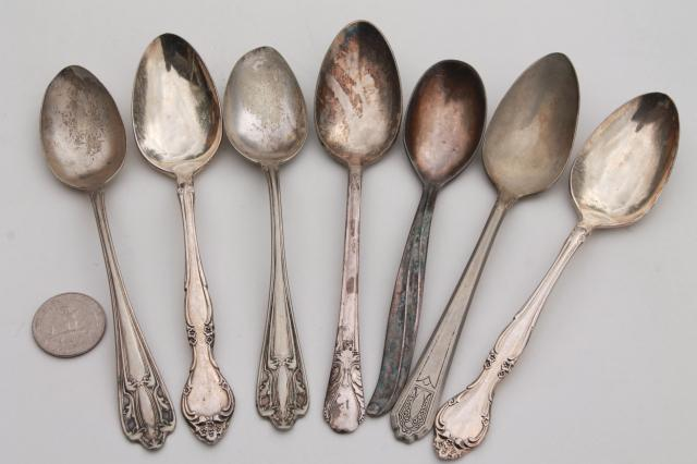 vintage silver plate flatware, collection of mismatched spoons, antique silverware