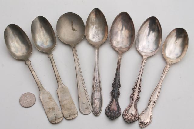 Vintage Silver Plate Flatware Collection Of Mismatched & Antique Silver Plated Silverware - Castrophotos
