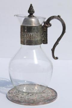 vintage silver plate glass bottle coffee carafe & silver and glass trivet