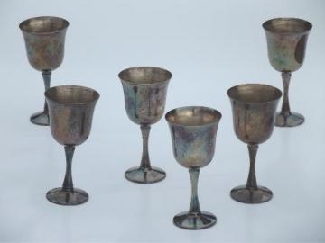 vintage silver plate goblets, set of six Salem silver wine glasses