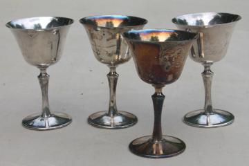 vintage silver plate goblets, silverplated wine glasses made in Italy