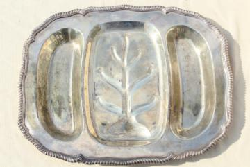 vintage silver plate roast meat or turkey platter, tree & well for drippings