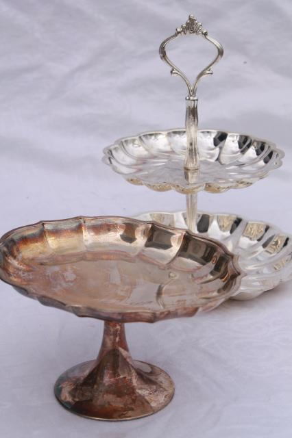 vintage silver plate serving pieces candy dish u0026 two tiered plate dessert tray & vintage silver plate serving pieces candy dish u0026 two tiered plate ...