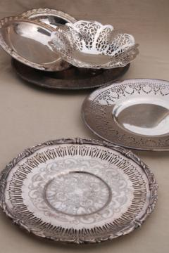 vintage silver plate serving trays & bonbon candy dishes for tea table or wedding