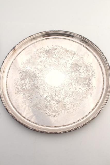 Vintage Silver Plate Serving Trays, Waiter's Tray & Party