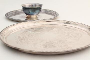 vintage silver plate serving trays, waiter's tray & party platter w/ dip bowl