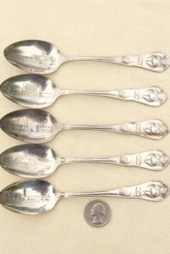 vintage silver plate souvenir spoons, 1930s Century of Progress, Chicago World's Fair