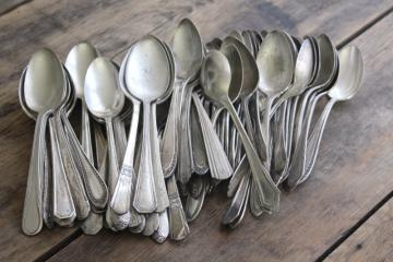 vintage silver plate spoons, shabby silverware lot for upcycle craft or stamping projects