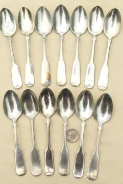 vintage silver plate teaspoons, coin silver Colonial style antique reproduction spoons