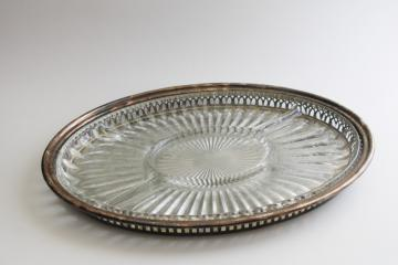 vintage silver plate tray w/ glass liner plate, lovely vanity table storage for jewelry
