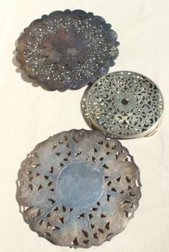 vintage silver plate trivet collection, tea table / buffet trivets