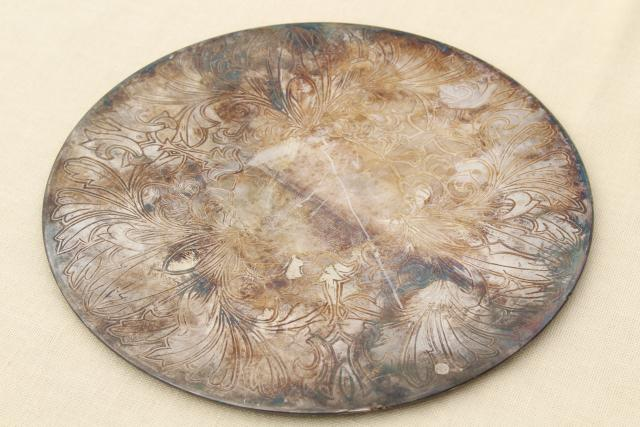 vintage silver plate trivet or small plateau tray, lovely old tarnished patina