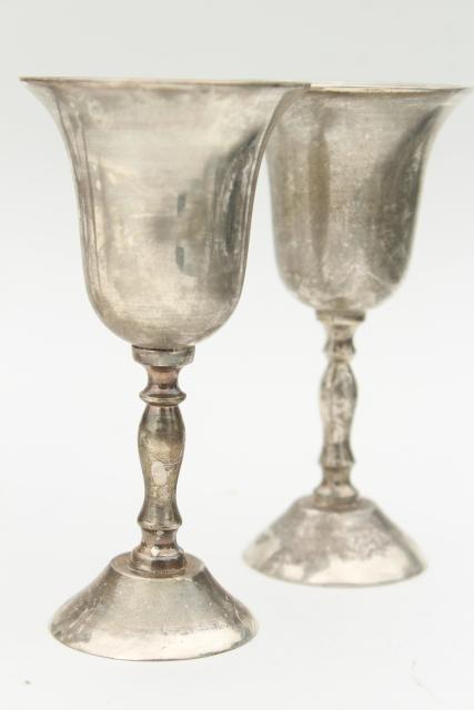vintage silver plate wine glasses, set of 6 small goblets w/ tarnished patina