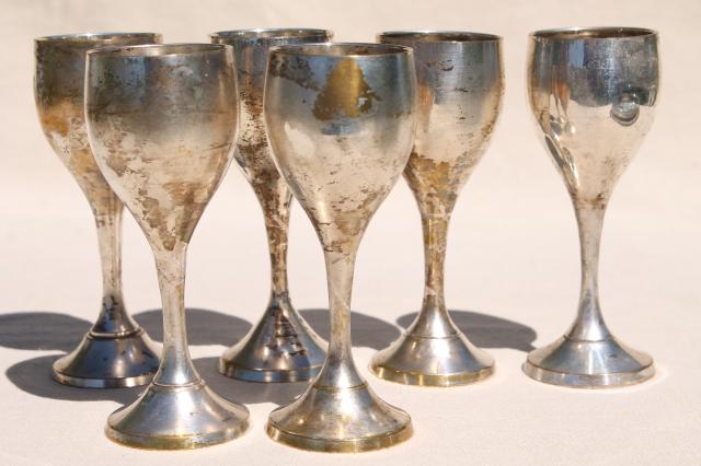 vintage silver plated brass goblets set, six tiny wine