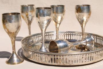 vintage silver plated brass goblets set, six tiny wine glasses & tray