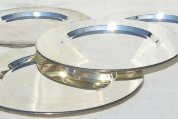 vintage silver plated charger plates or trays, four plate set made in India