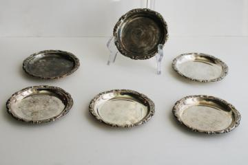 vintage silver plated drink coasters, tiny shabby silver plates or trays