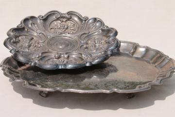 vintage silver serving trays - shabby old tarnished silver hall tray, ornate charger plate