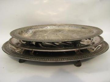 vintage silver / sheffield plate meat platters, tree and well for drippings