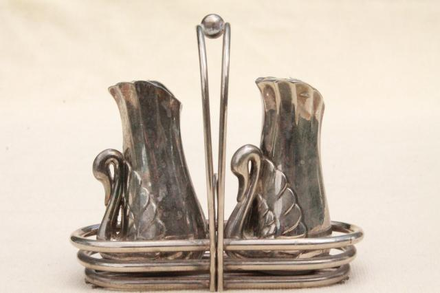 vintage silver swan salt and pepper shakers set, silverplated swans S&P