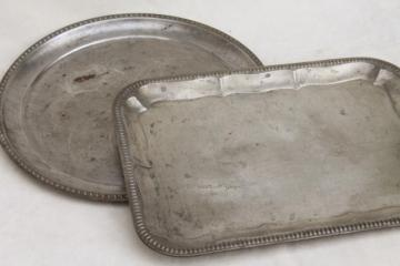 vintage silver tin trays, primitive old rusty metal trays w/ lovely weathered patina