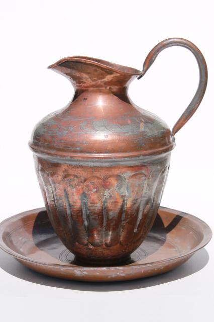 Vintage Silver Wash Solid Copper Tall Water Pitcher Ewer