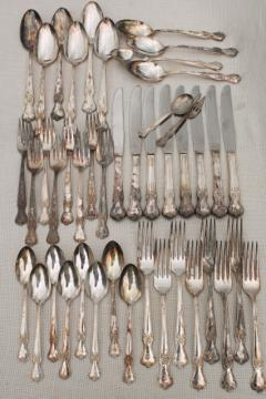 vintage silverplate flatware, Old Company Plate silverware ornate floral w/ engraved L monogram